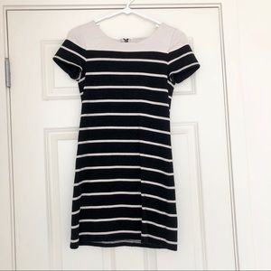 Forever21 cream/black striped dress